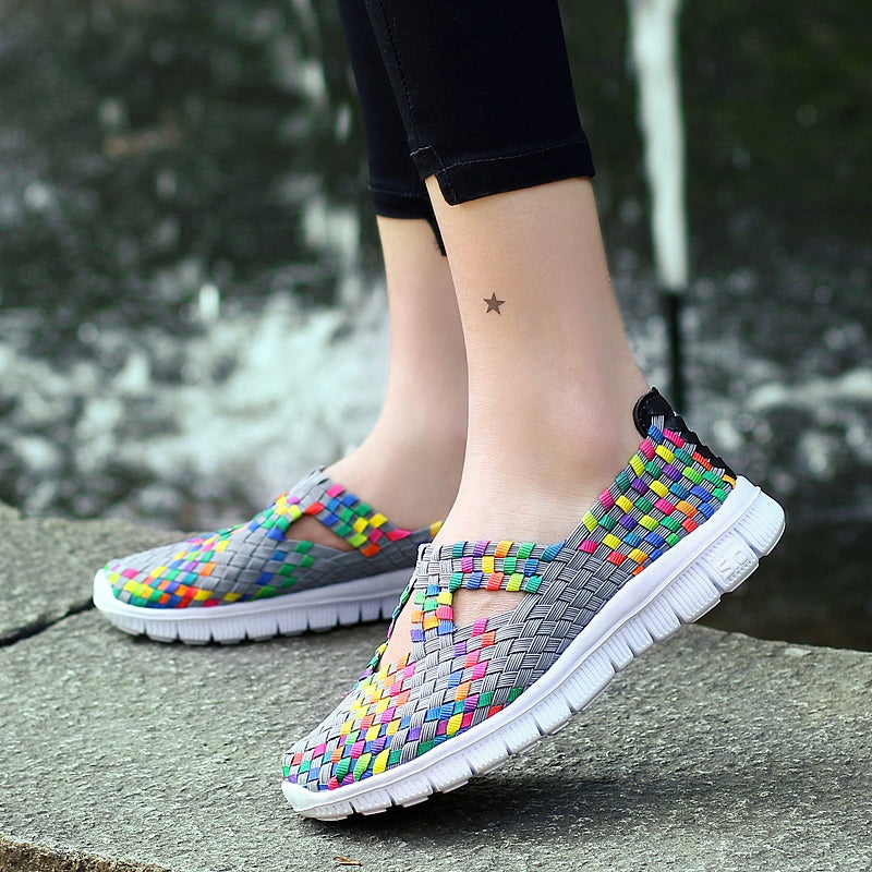 Women Woven Sports Shoes Match Flats Breathable Sneaker - MARI MAR SHOP
