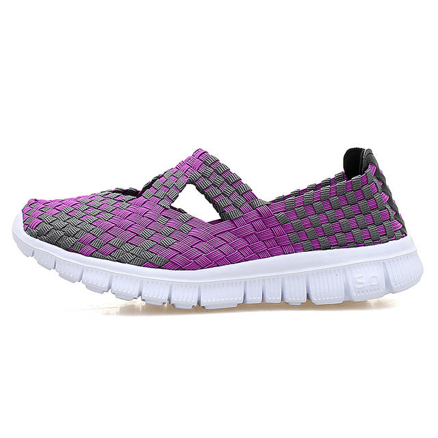 Women Woven Sports Shoes Match Flats Breathable Sneaker