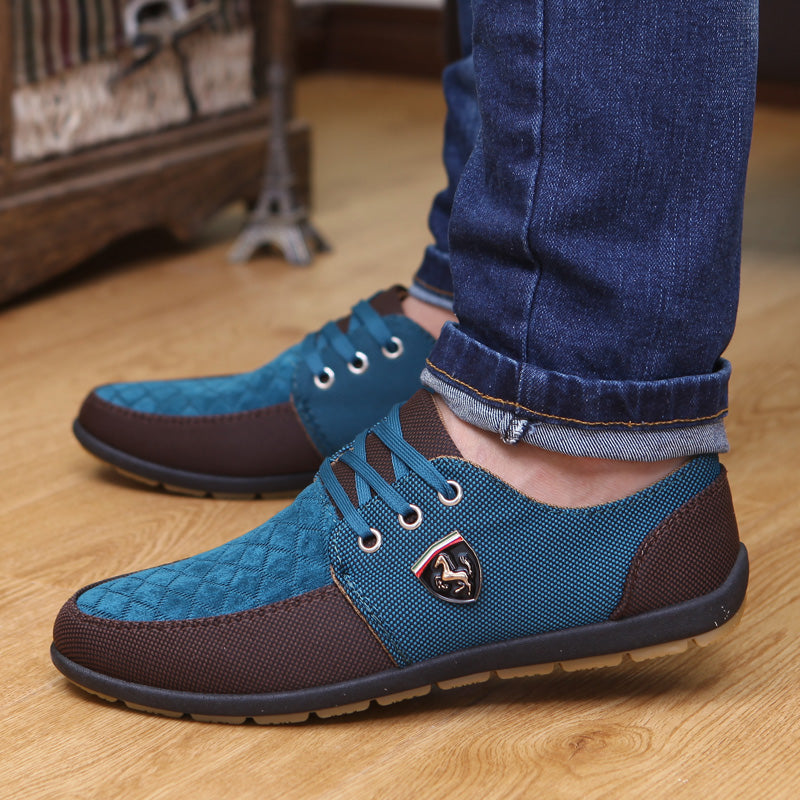 Men Flats Canvas Lacing Shoes Breathable Casual Shoes Single Flats - MARI MAR SHOP
