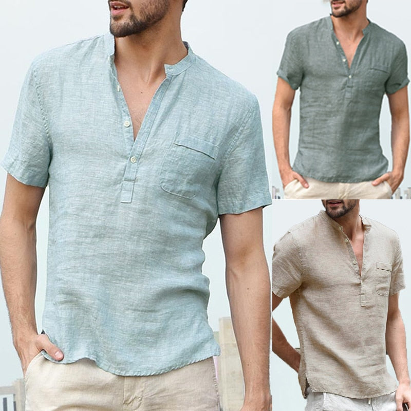 Men's Shirts Stand Collar Short Sleeve Button Casual Streetwear (tm1) - MARI MAR SHOP