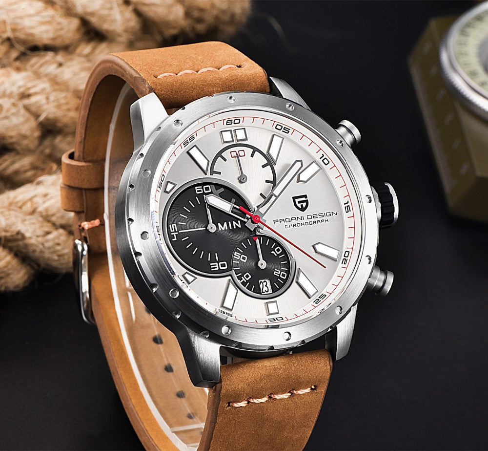 Chronograph Sport Quartz Watch Luxury Brand PAGANI DESIGN Military Wristwatches - MARI MAR SHOP