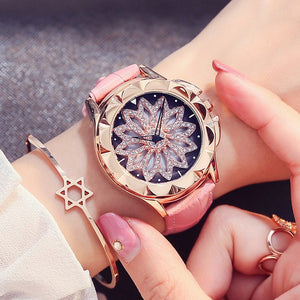 Women Rhinestone Watches Lady Rotation Dress Bracelet Crystal Watch - MARI MAR SHOP