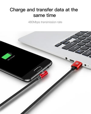 Baseus 90 Degree Micro USB Cable Fast Charging Charger Data For Samsung Xiaomi Android - MARI MAR SHOP