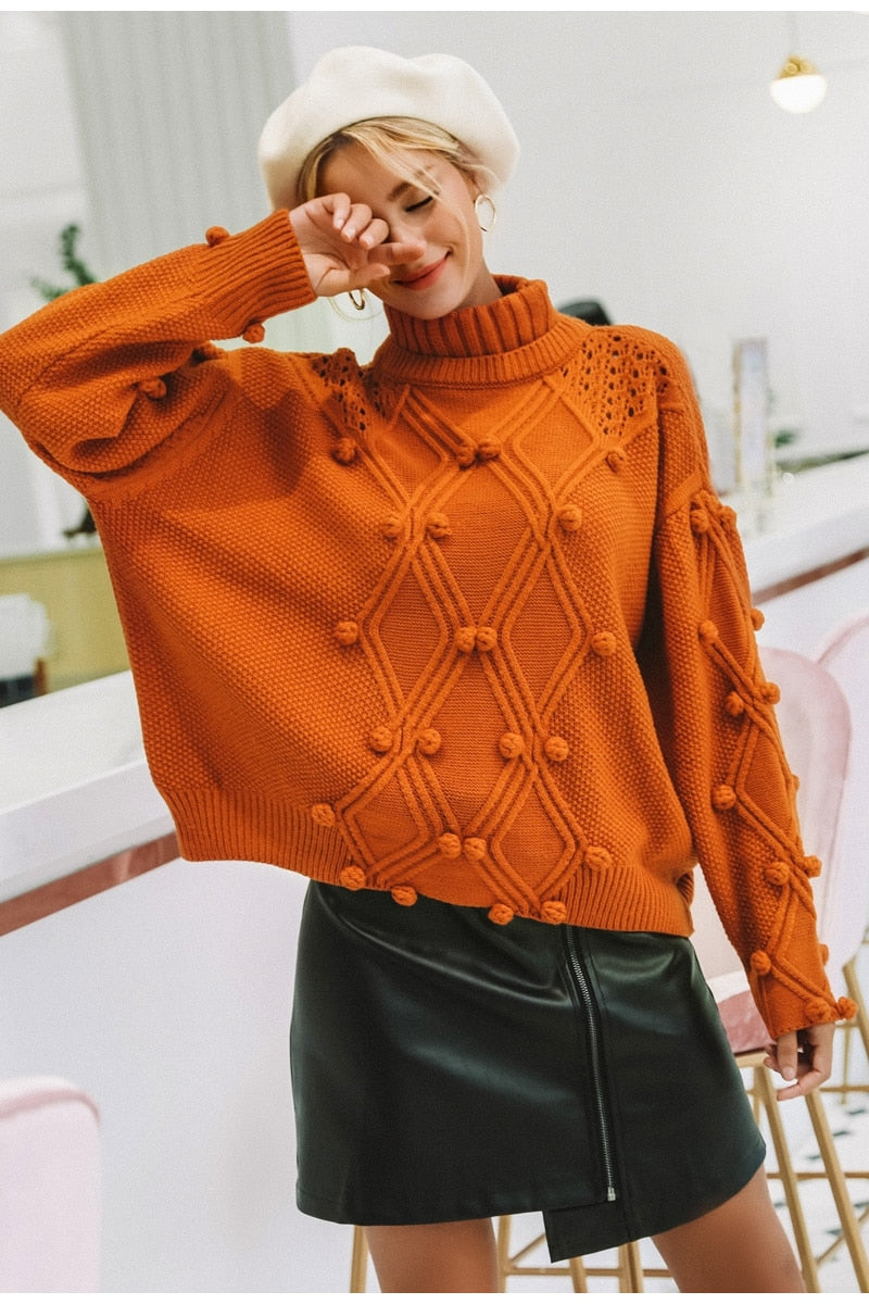 Women's Turtleneck pullover Hollow out knitted Sweaters (wo1)