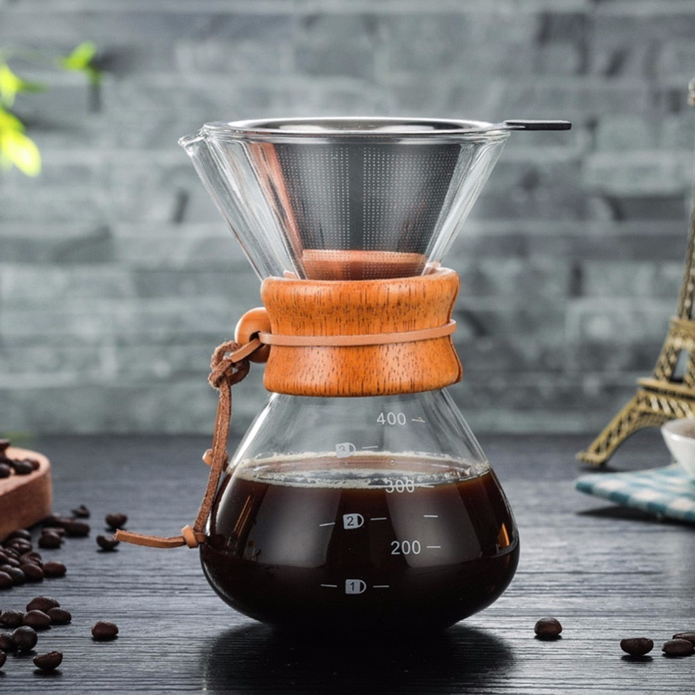 HOT SALE High-temperature Resistant Glass Coffee Maker Coffee With Filter Pot - MARI MAR SHOP