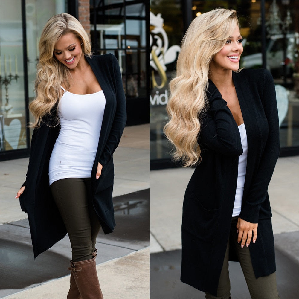 Women Elegant Pocket Knitted Outerwear Sweater High Quality Cardigan (wo1)
