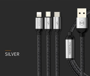 Mcdodo 3 in 1 3A USB Cable For iPhone Charging Micro USB Cable Type C USB Samsung Android - MARI MAR SHOP