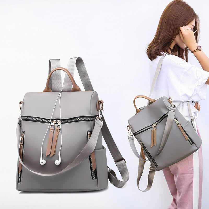Women Shoulder Backpack Double Zippers School Bags - MARI MAR SHOP