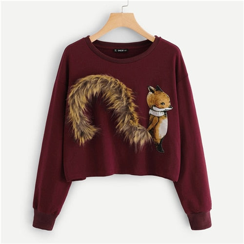 Women Burgundy Faux Fur Fox Patch    Pullovers Sweatshirts (wo1) - MARI MAR SHOP