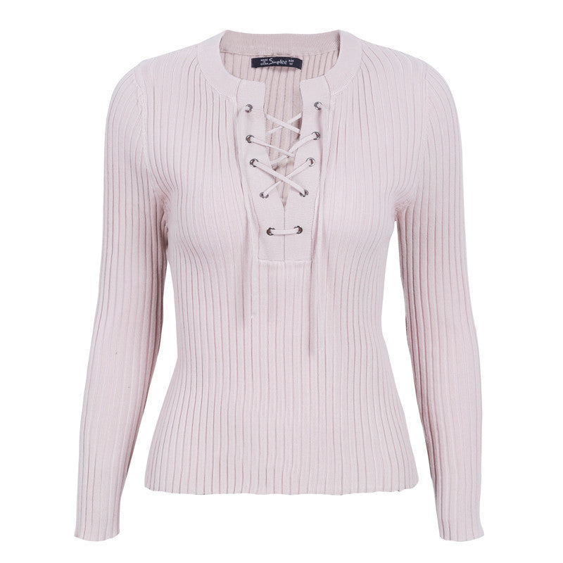 Simplee O Neck Tie Up Knitted Sweater Women Autumn pull Knit Jumper Winter Sweater (wo1) - MARI MAR SHOP