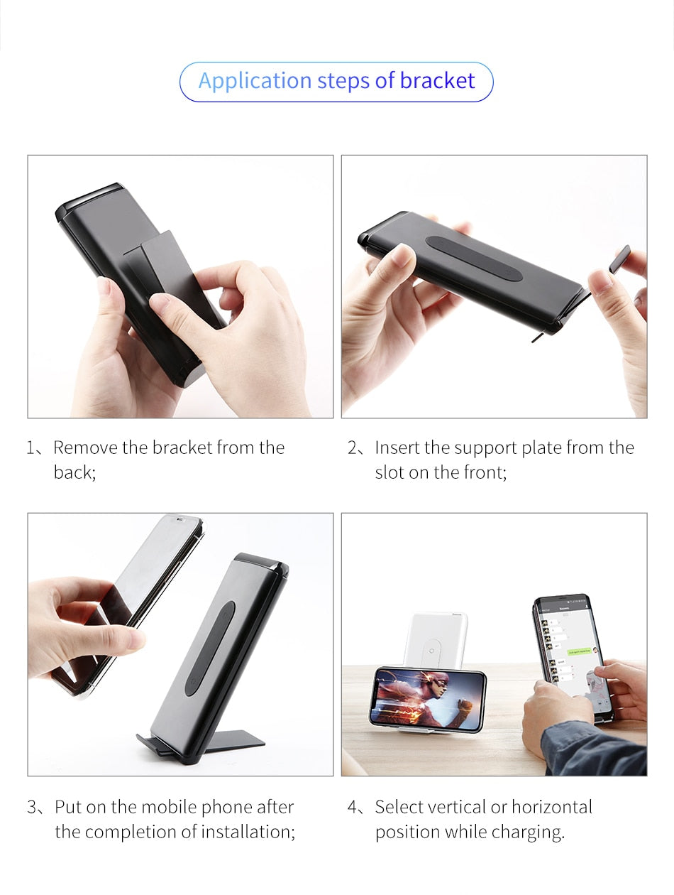 Baseus QI Wireless Charging Power Bank Charger For iPhone & Samsung Fast Charger - MARI MAR SHOP