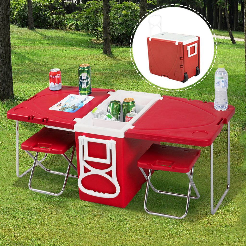 HOT SALE Costway Multi Function Rolling Cooler Picnic Camping Outdoor w/ Table & 2 Chairs Red - MARI MAR SHOP