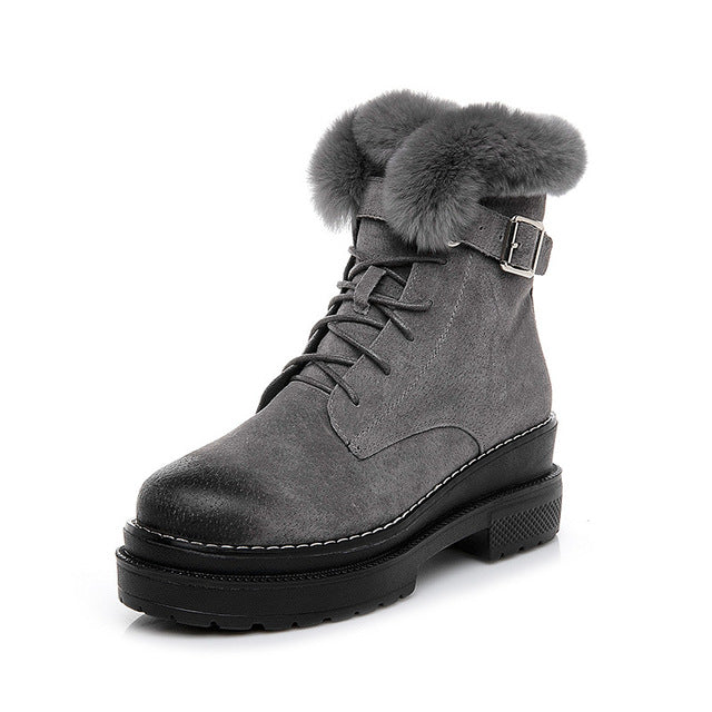 Woman Rabbit Fur High Top Quality Genuine Leather Snow Ankle Boots - MARI MAR SHOP