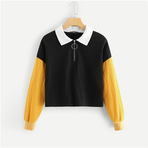Multicolor Casual  O-Ring Zip Half Placket  Women Sweatshirts (wo1) - MARI MAR SHOP
