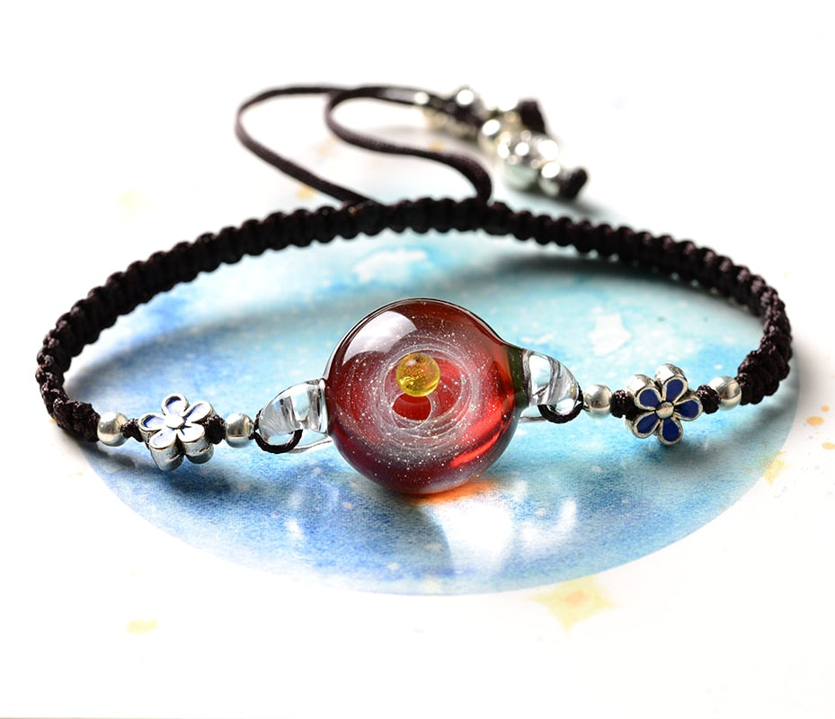 Universe Galaxy Planet Bracelet Flower Charm jewelry presents - MARI MAR SHOP