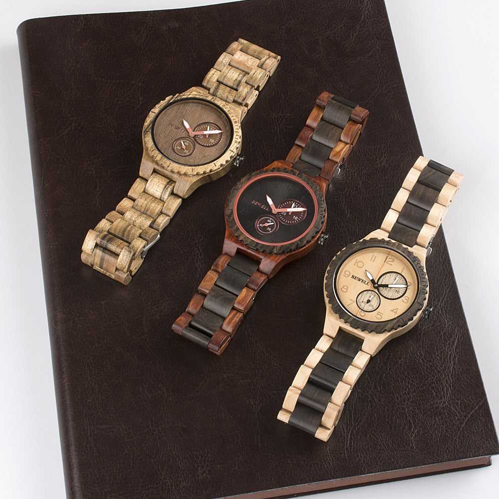 BEWELL Men Wood Watch Quartz Movement Stopwatch Date Luminous Vintage Analog Wrist Watch - MARI MAR SHOP