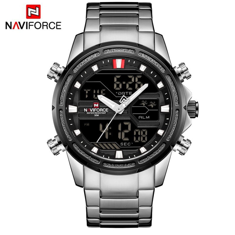 NAVIFORCE Top Brand Men Military Sport Watches LED Analog Digital Watch - MARI MAR SHOP