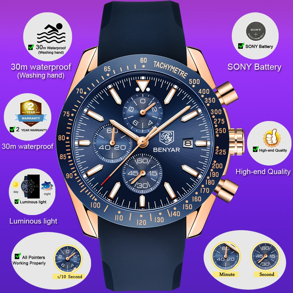BENYAR Chronograph Military Watch Men Watches - MARI MAR SHOP