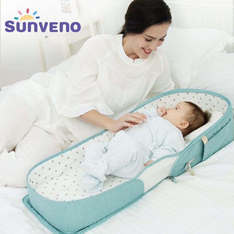 SUNVENO Baby Portable Bed Bag Foldable Newborn Travel Crib Carry-on Nest Bed Diaper Bag Bed for Baby 0-6M HOT SALE