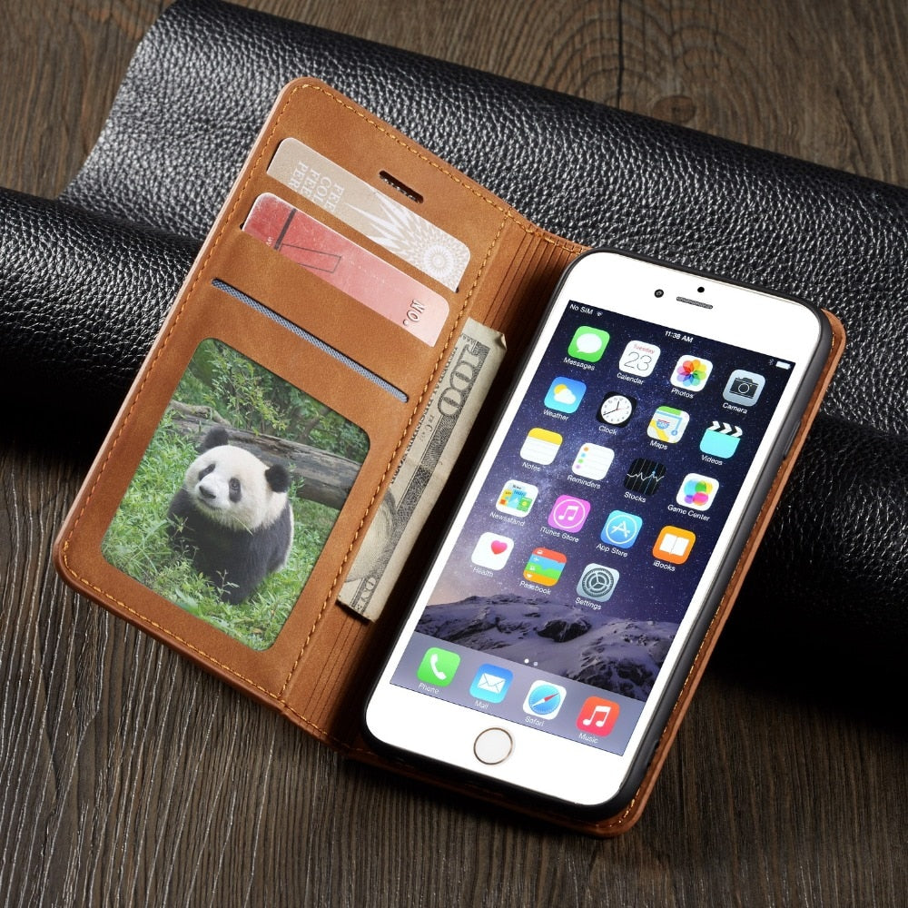 Magnet Leather Wallet Case For iPhone 6 S 7 8 Plus XS Max XR Card Book Cover - MARI MAR SHOP