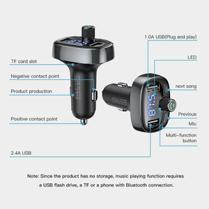 LCD Display FM Transmitter Car Charger Dual USB Phone Charger Handsfree Bluetooth MP3 Player