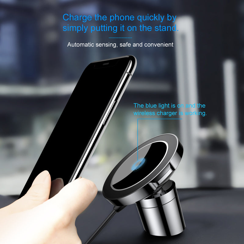 Qi Car Wireless Charger Magnetic Phone Holder & Wireless Charging Car Holder Stand - MARI MAR SHOP