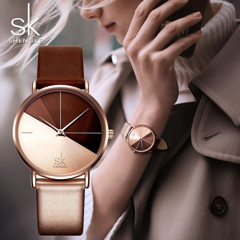 SK Luxury Leather Watches Women Creative Fashion Quartz Watches - MARI MAR SHOP
