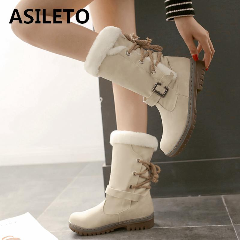ASILETO Women Winter Snow Fur Ankle Boots - MARI MAR SHOP
