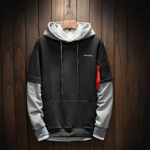 Men Hip Hop patchwork Long Sleeve Pullover Hoodies Sweatshirt  (tm1) - MARI MAR SHOP