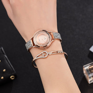 3Pcs Set Women Luxury Wrist Watch S(tainless steel bangle stainless steel necklace) - MARI MAR SHOP
