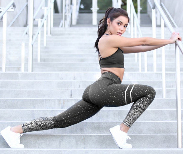 Women Gold Print Exercise Fitness Leggings Patchwork Push Up Pants (wo1) - MARI MAR SHOP