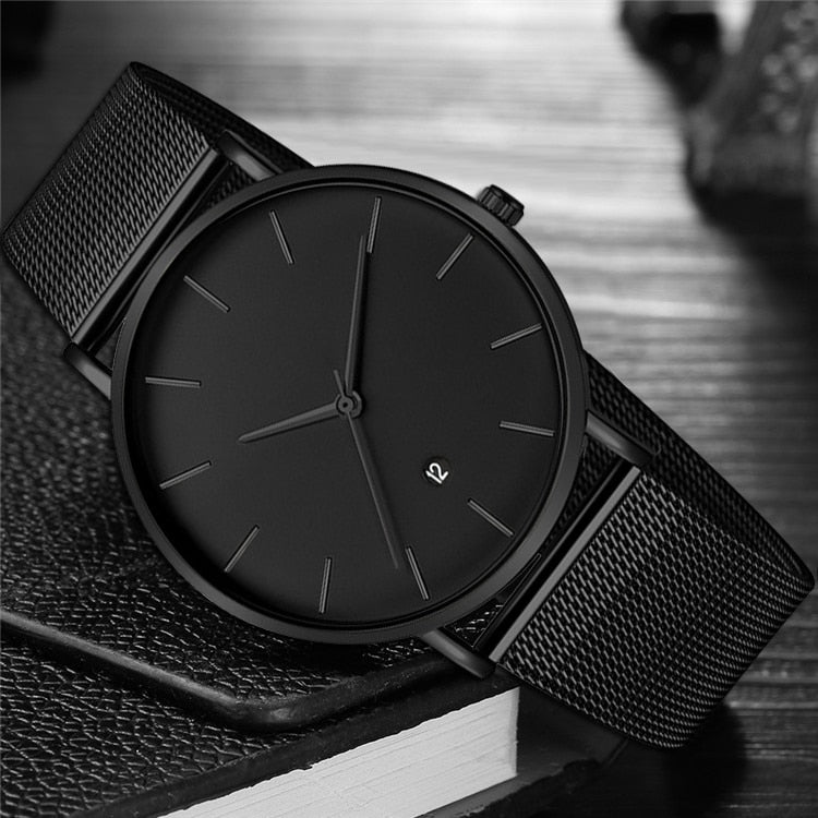 Men Business Style Black Wristwatches Stainless Steel Quartz Watch - MARI MAR SHOP