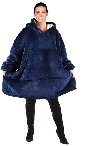 HOT SALE Winter Thick Comfy TV Blanket Sweatshirt Solid Warm Hooded Blanket