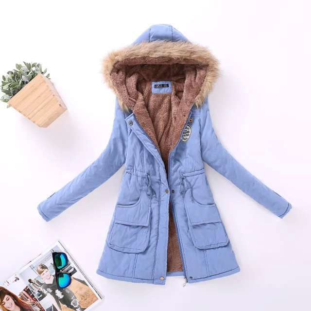 Women's parkas wool wadded jacket Hooded Thick Warm Fur Collar Cotton Coat (wo1) - MARI MAR SHOP