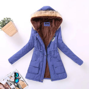 Women's parkas wool wadded jacket Hooded Thick Warm Fur Collar Cotton Coat (wo1)