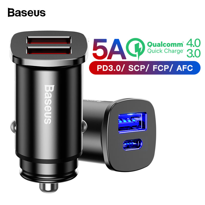 Baseus Quick Charger 4.0 3.0 USB Fast Car Charger QC QC4.0 QC3.0 Type C PD - MARI MAR SHOP
