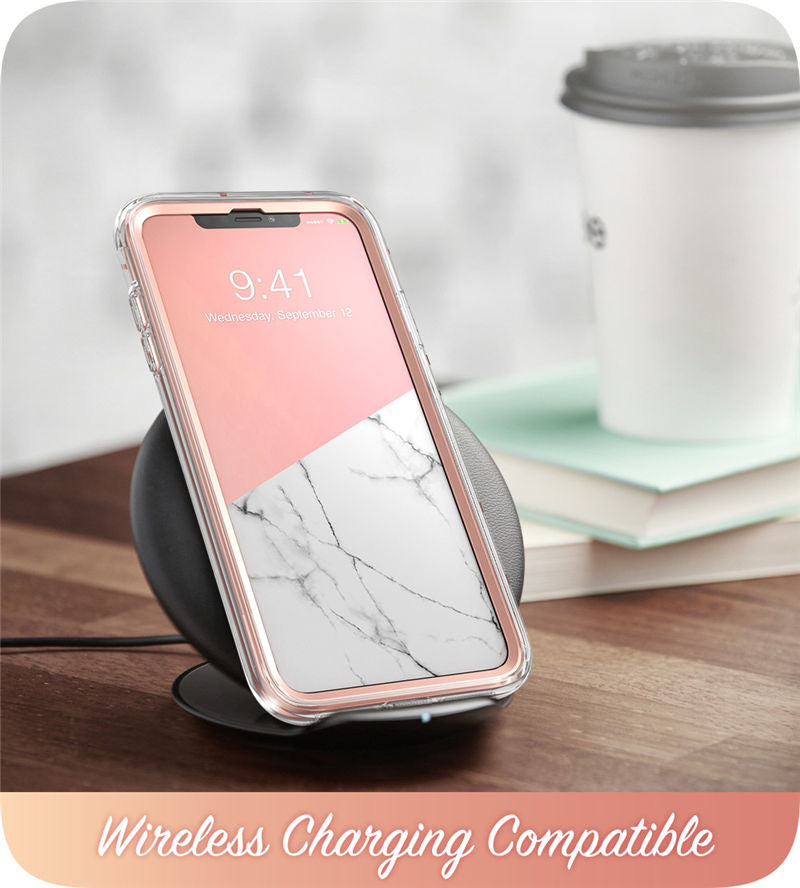 "iPhone XR Case 6.1"" Full-Body Glitter Marble Bumper Case with Built-in Screen Protector - MARI MAR SHOP"