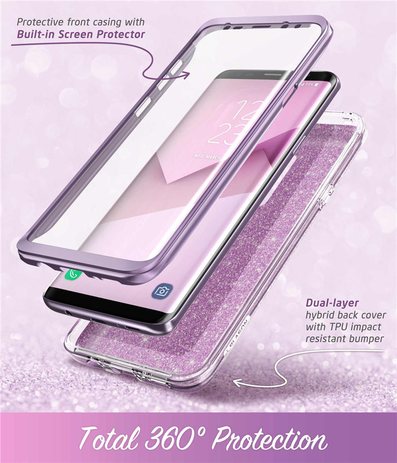 Samsung Galaxy S9 Plus Case Full-Body Glitter Marble Bumper With Built-in Screen Protector - MARI MAR SHOP