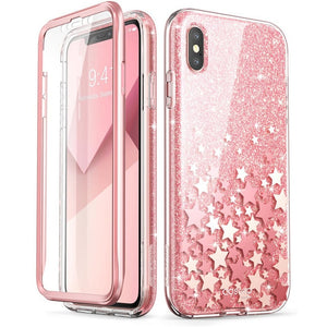 iPhone Xs Max Case 6.5 inch Full-Body Glitter Marble Bumper Case with Built-in Screen Protector - MARI MAR SHOP