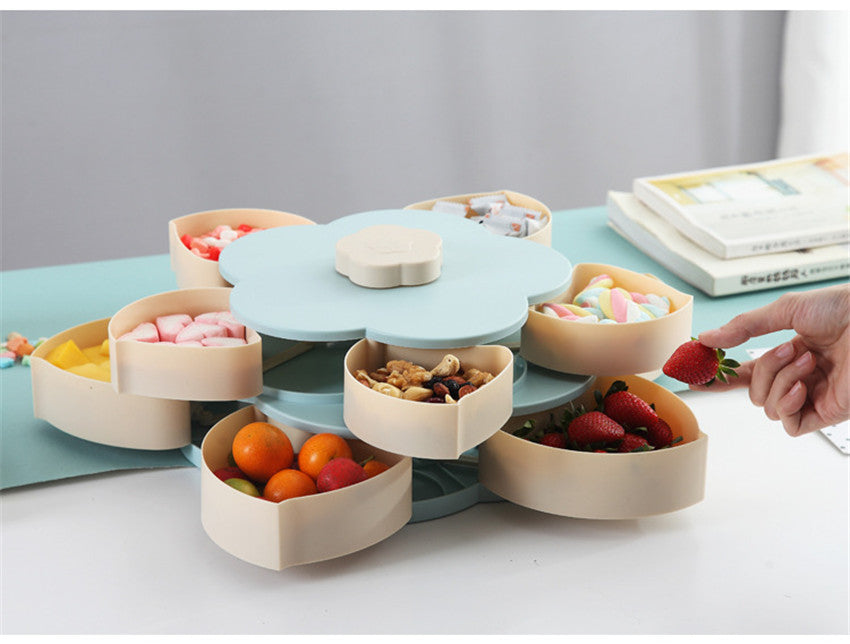 Double-deck Rotary Storage Box Flower Design Snack Candy Box Organizer HOT SALE - MARI MAR SHOP
