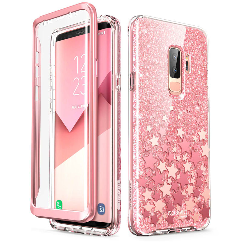Samsung Galaxy S9 Case Full-Body Glitter Marble Bumper with Built-in Screen Protector - MARI MAR SHOP