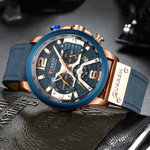 Luxury Chronograph Men Watch Leather Luxury Waterproof Sport Watch - MARI MAR SHOP