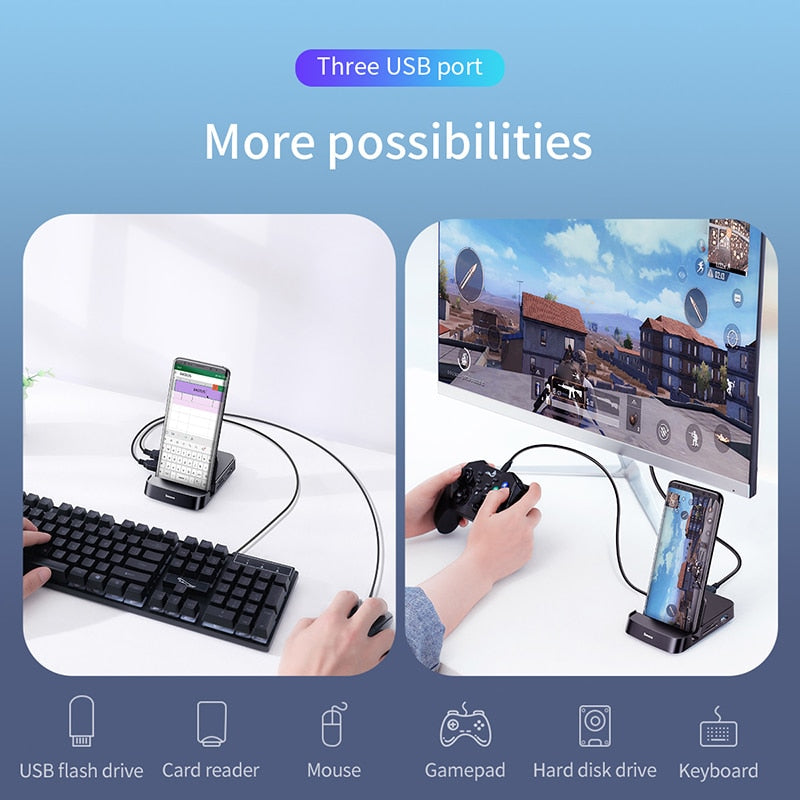 Android USB Type C HUB Docking Dex Pad Station USB-C to HDMI Dock Power Adapter Charger - MARI MAR SHOP