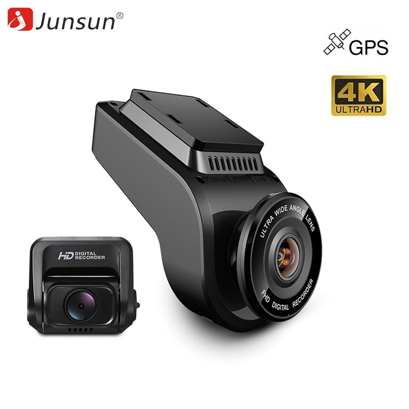 HOT SALE Junsun Car DVRs Recorder Dual Lens Dashcam Built in GPS Tracker 4K 2160P HD  Night Vision Camera with 1080P 170 Rear Camera - MARI MAR SHOP