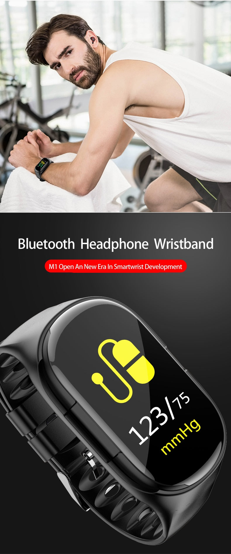 LEMFO M1 Smart Watch With Bluetooth Earphone Heart Rate Monitor Smart Wristband - MARI MAR SHOP