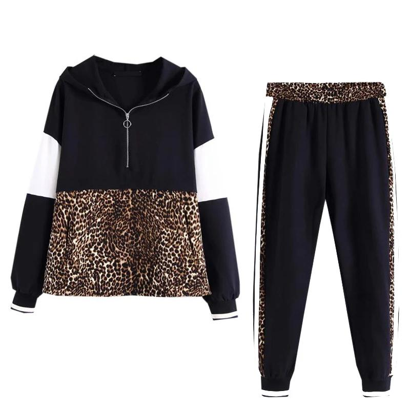 Women Spring  2 Pieces Set Leopard Spliced Sweatshirt Hooded Harm Pant Tracksuits Hoodies (wo1) - MARI MAR SHOP