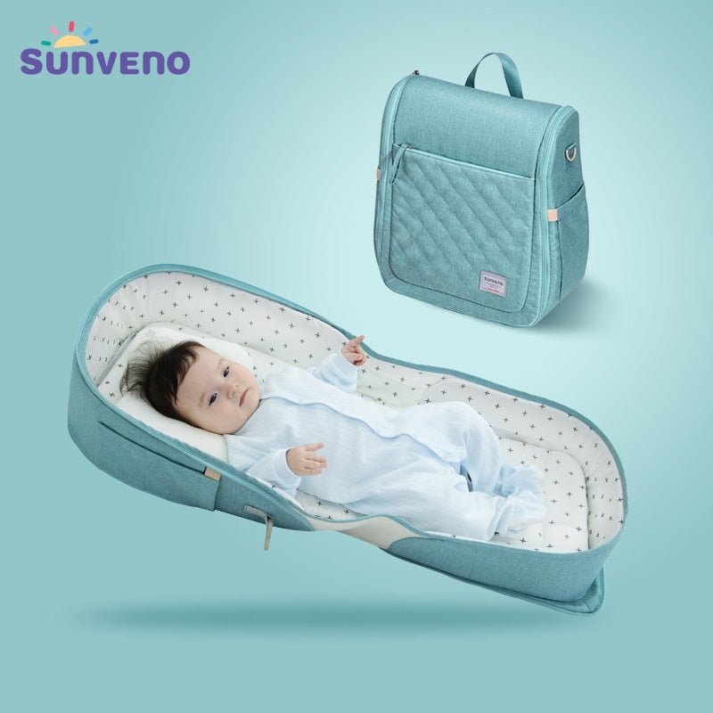 SUNVENO Baby Portable Bed Bag Foldable Newborn Travel Crib Carry-on Nest Bed Diaper Bag Bed for Baby 0-6M HOT SALE - MARI MAR SHOP