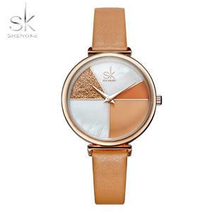 Shengke Women Leather Quartz Movement Watch