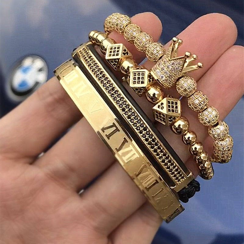 4pcs/set Braiding Bracelet Gold Men Bracelet  Luxury Jewelry - MARI MAR SHOP