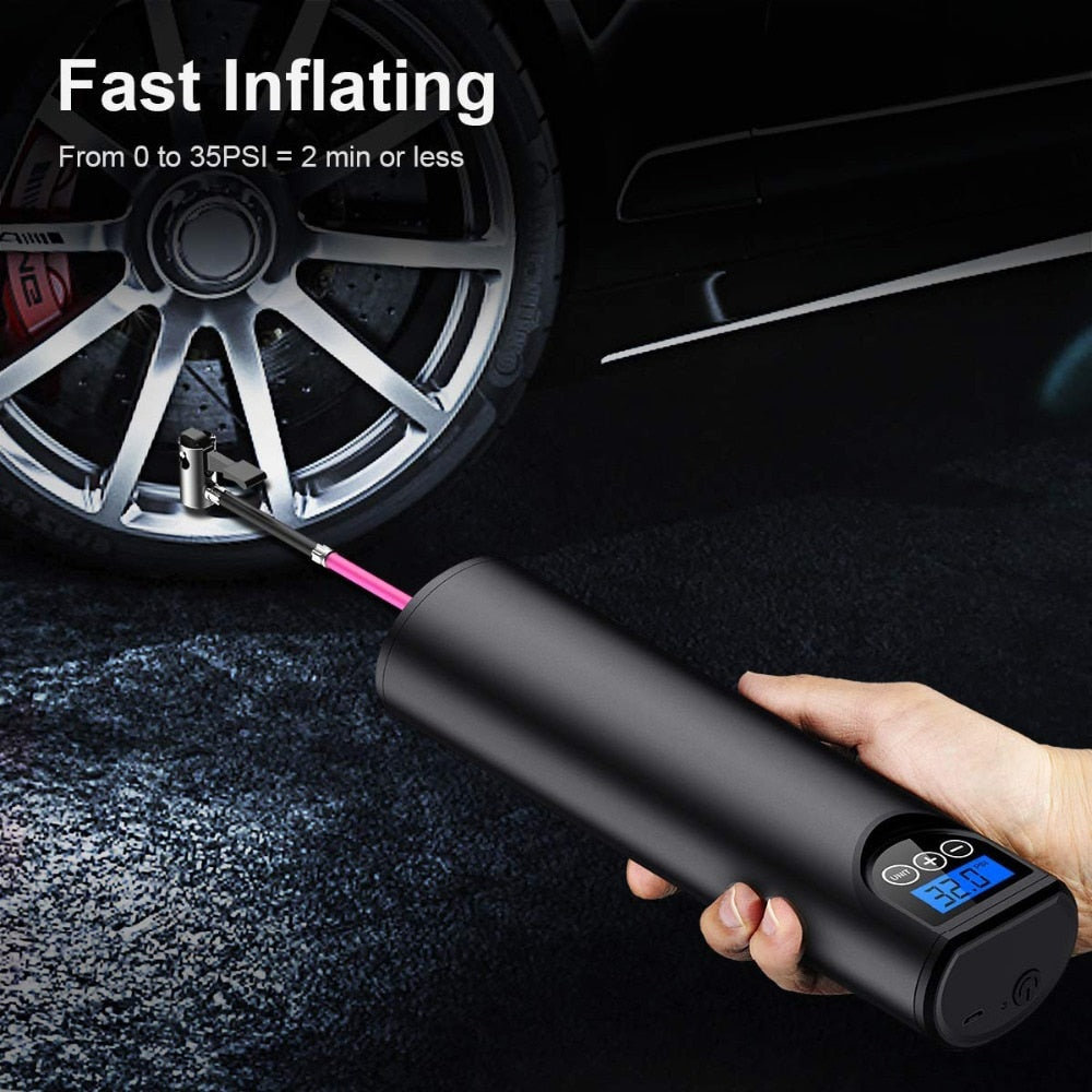 HOT SALE Tyre Inflator Cordless Portable Compressor Digital Car Tyre Pump 12V 150PSI Rechargeable for Car Bicycle Tires Balls - MARI MAR SHOP